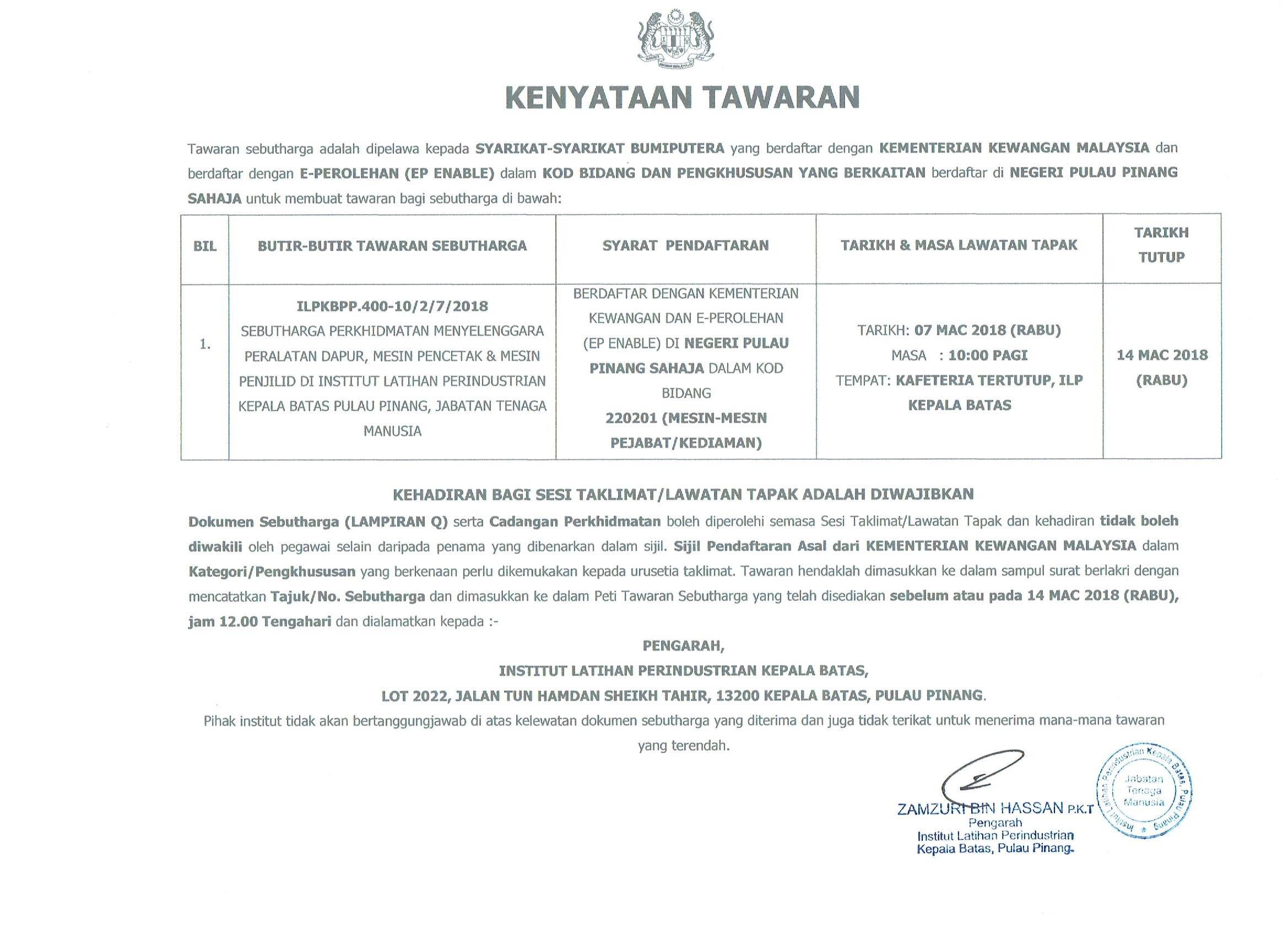 Syarikat Sebutharga Perkhidmatan Menyelenggara Peralatan Dapur Mesin Pencetak Penjilid Di Insut Latihan Perindustrian Kepala Batas U Pinang
